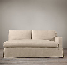 Belgian Track Arm Slipcovered Right-Arm Sofa
