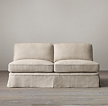 English Roll Arm Slipcovered Armless Sofa