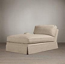 English Roll Arm Slipcovered Left-Arm Chaise
