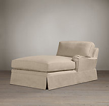 English Roll Arm Slipcovered Right-Arm Chaise