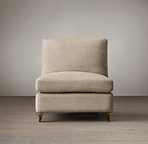 Belgian Classic Roll Arm Upholstered Armless Chair