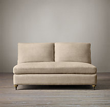 Belgian Classic Roll Arm Upholstered Armless Sofa