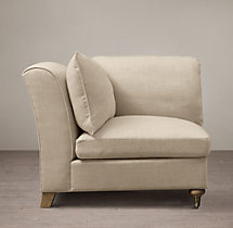 Belgian Classic Roll Arm Upholstered Corner Chair