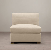 Belgian Classic Slope Arm Upholstered Armless Chair