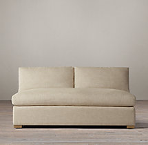 Belgian Classic Slope Arm Upholstered Armless Sofa