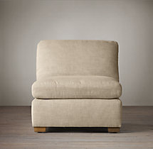 Belgian Roll Arm Upholstered Armless Chair