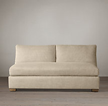 Belgian Roll Arm Upholstered Armless Sofa