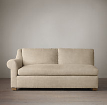Belgian Roll Arm Upholstered Left-Arm Sofa