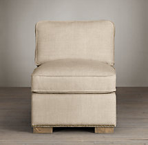 Collins Upholstered Armless Chair With Nailheads