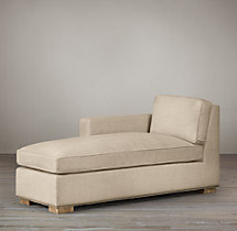 Collins Upholstered Left-Arm Chaise With Nailheads