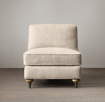 English Roll Arm Upholstered Armless Chair