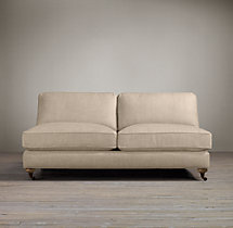 English Roll Arm Upholstered Armless Sofa