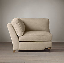English Roll Arm Upholstered Corner Chair