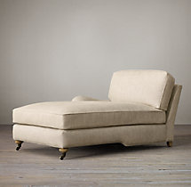 English Roll Arm Upholstered Left-Arm Chaise