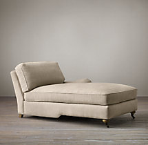 English Roll Arm Upholstered Right-Arm Chaise