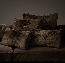Luxe Faux Fur Pillow Cover- Sable
