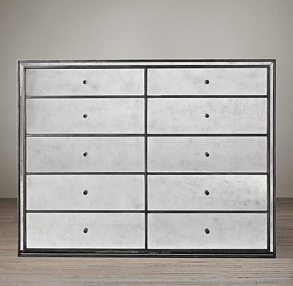 Drawer Dresser With Mirror Mirrored 10-drawer Dresser