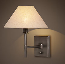 Petite Candlestick Sconce with Linen Shade
