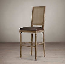 Vintage French Square Cane Back Leather Stool