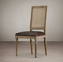 Vintage French Square Cane Back Leather Side Chair