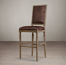 Vintage French Square Leather Stool