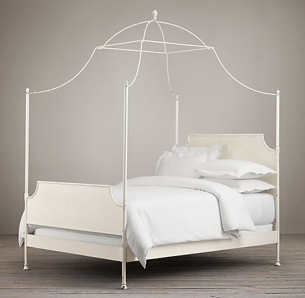 19th C Campaign Iron Canopy Bed