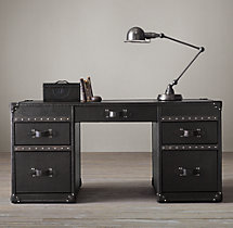 Mayfair Steamer Trunk 5-Drawer Desk - Old Black Saddle
