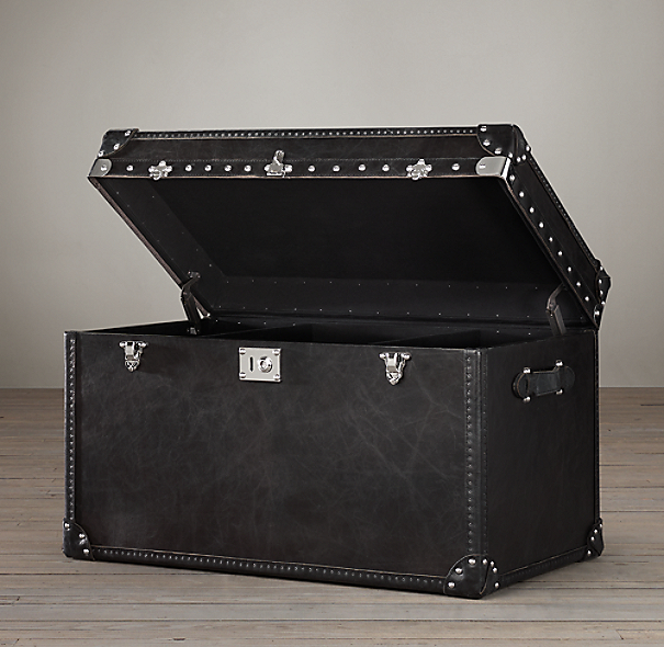 Mayfair Steamer Trunk Tall Coffee Table Old Black Saddle