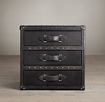 Mayfair Steamer Trunk 3-Drawer Cube - Old Black Saddle