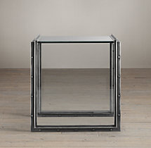 "24"" Waterfall Glass & Iron Side Table"