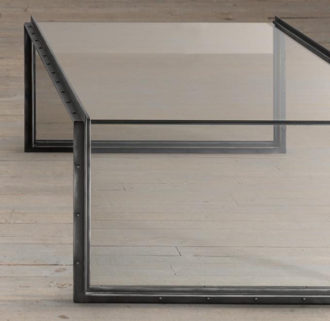 Waterfall Glass Iron Coffee Table