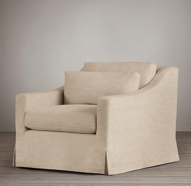 Belgian Clic Slope Arm Slipcovered Chair