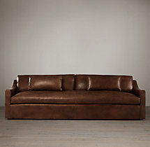 8' Belgian Classic Slope Arm Leather Sofa