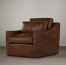 Belgian Classic Slope Arm Leather Swivel Chair