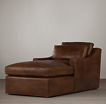 Belgian Classic Slope Arm Leather Chaise