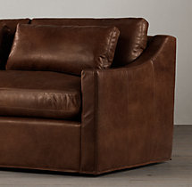 7' Belgian Classic Slope Arm Leather Sofa