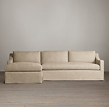 Preconfigured Belgian Classic Slope Arm Slipcovered Left-Arm Chaise Sectional
