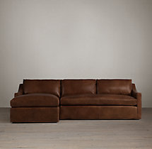 Preconfigured Belgian Classic Slope Arm Leather Left-Arm Chaise Sectional