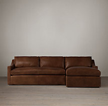 Preconfigured Belgian Classic Slope Arm Leather Right-Arm Chaise Sectional