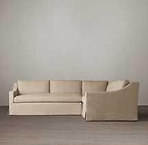 Preconfigured Belgian Classic Slope Arm Slipcovered Corner Sectional