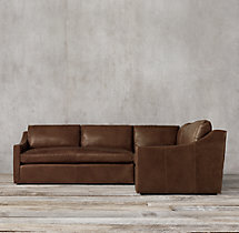 Preconfigured Belgian Classic Slope Arm Leather Corner Sectional
