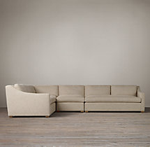 Preconfigured Belgian Classic Slope Arm Upholstered L-Sectional