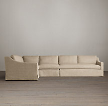 Belgian Classic Slope Arm Slipcovered L-Sectional