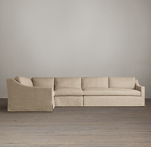 Belgian Classic Slope Arm Slipcovered Customizable Sectional