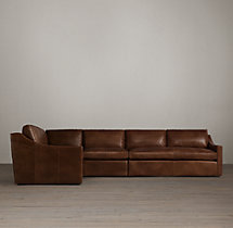 Belgian Classic Slope Arm Leather L-Sectional