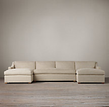 Preconfigured Belgian Classic Slope Arm Upholstered U-Chaise Sectional