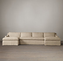 Preconfigured Belgian Classic Slope Arm Slipcovered U-Chaise Sectional