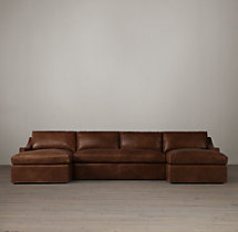 Preconfigured Belgian Classic Slope Arm Leather U-Chaise Sectional