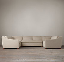 Preconfigured Belgian Classic Slope Arm Upholstered U-Sofa Sectional