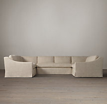 Preconfigured Belgian Classic Slope Arm Slipcovered U-Sofa Sectional